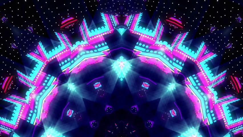 4k Disco Hypnotic Light Centerd Vj Loop Disco Effect: Particles Kaleidoscope Stage Visual Loop For Concert