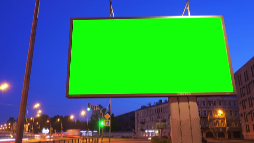 A Billboard with a Green Screen on a Busy Night Street.Time Lapse. | Shutterstock HD Video #17808592