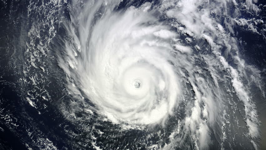 Animation of Giant hurricane seen from the space. Elements of this image furnished by NASA