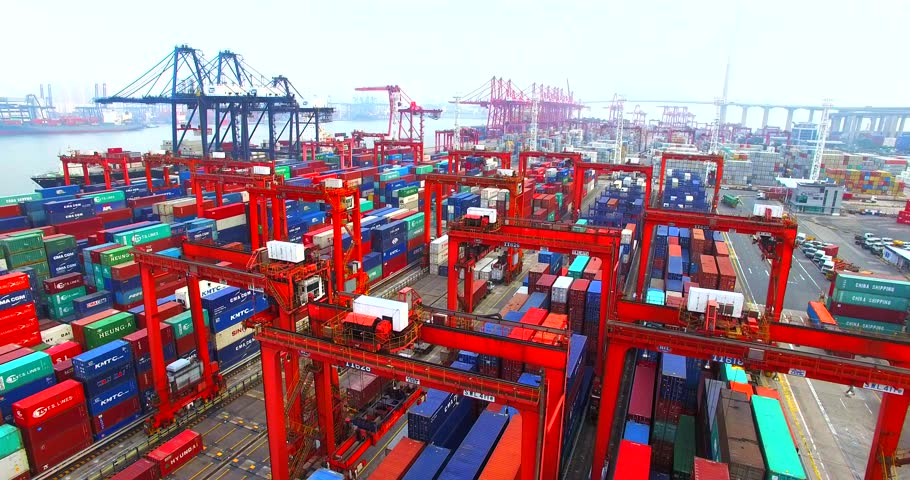 HONG KONG, CHINA - APRIL 1, 2016: Flying above a lot of cargo containers in port of Hong Kong. Aerial. | Shutterstock HD Video #17814502