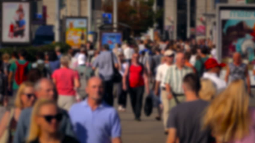 Crowd of People / Commuters Walking / Busy Street. Crowd on a busy street. 4x fast motion of people walk down a busy street with advertising, billboards, cars and public transport. (av29673c) | Shutterstock HD Video #17817082