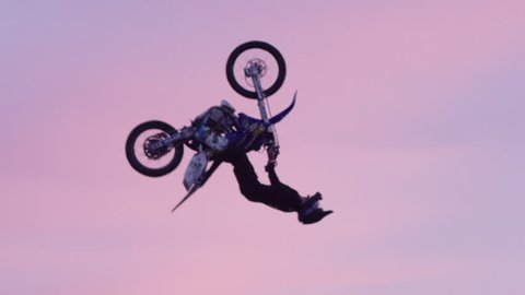 Extreme Freestyle Motocross Jumping - Backflip in super slow motion