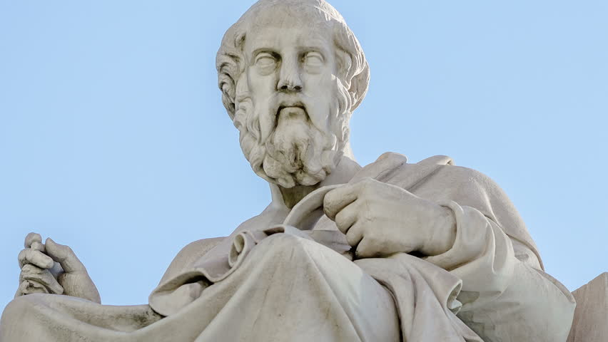 Closeup Marble Statue of the Ancient Greek Philosopher Plato on Sky Background