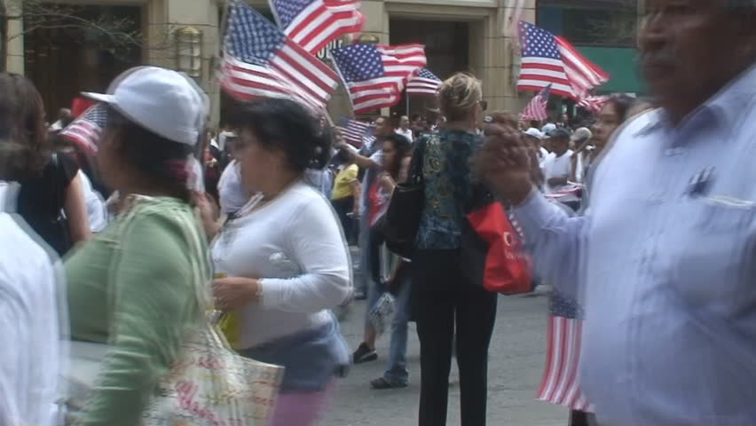 Immigration march 2007 in downtown Chicago loop