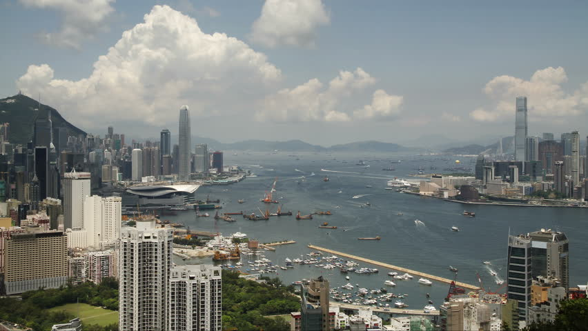 Time lapse of Hong Kong Victoria Harbor City skyline - Tsim Sha Tsui, Kowloon, Victoria Harbor and Hong Kong island. | Shutterstock HD Video #17859472
