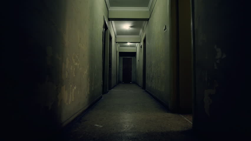 Delightful Old Apartment Building,long Dark Hallway.Tracking In On The Corridor Of An  Old