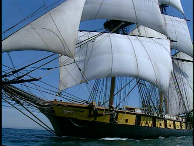 Tall ship at full sail