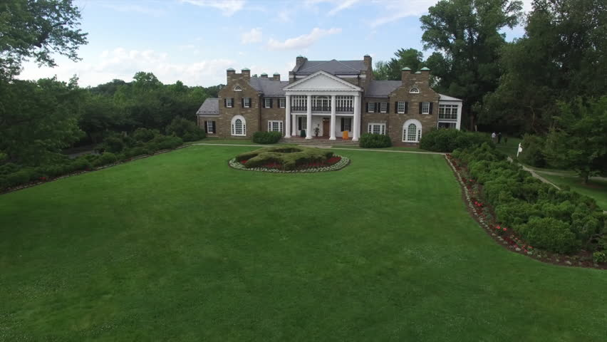 Glenview Historic Neo-Classical Revival Style Mansion Lift Off Aerial #17862922