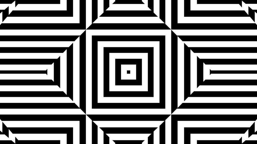 Rotating squares morphing into diamonds and black and white stripes. Seamlessly looping motion background for music videos, broadcast, tv, film, editing, live visuals, VJ loops, shows, or art.