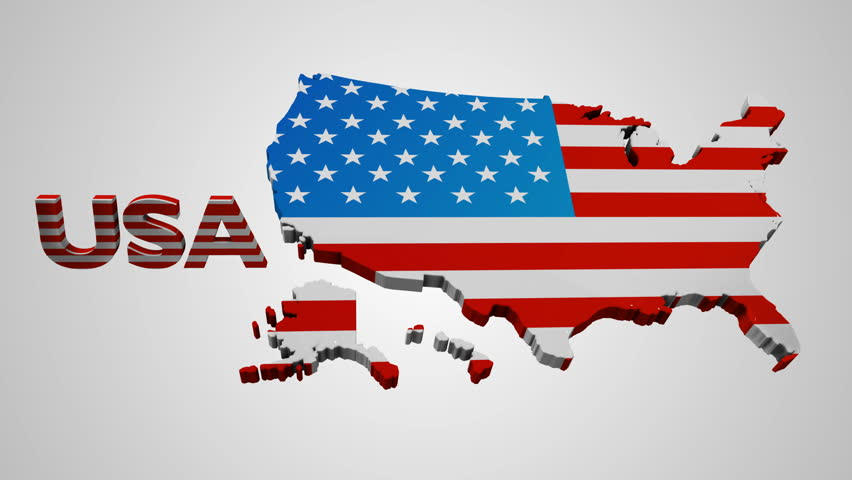 Nice Animation Of The National USA Flag In D Map Of United States - Us map all white red background