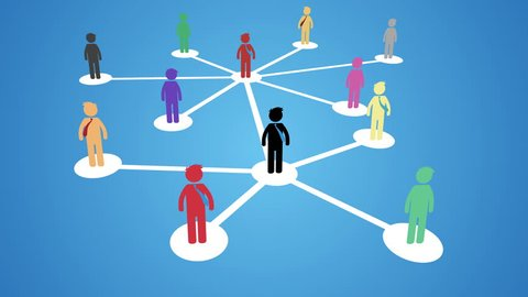 Network building, multilevel marketing Business Concept. Business network growing animation. nice animation of colorful pictograms pop up over of a network of white circles and lines. full hd and 4k.