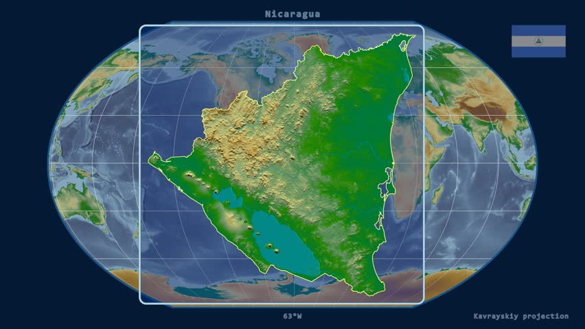 Zoomedin View Of A Nicaragua Outline With Perspective Lines - Nicaragua map hd