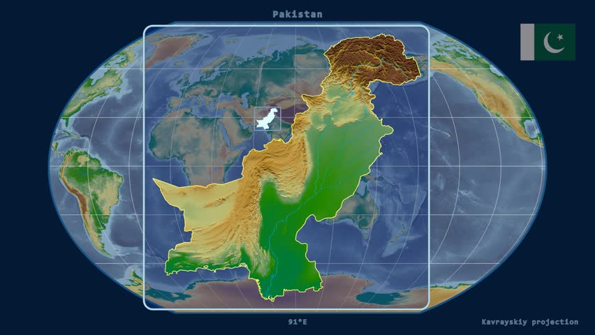 Zoomed-in view of a Pakistan outline with perspective lines against a global physical map in the Kavrayskiy VII projection