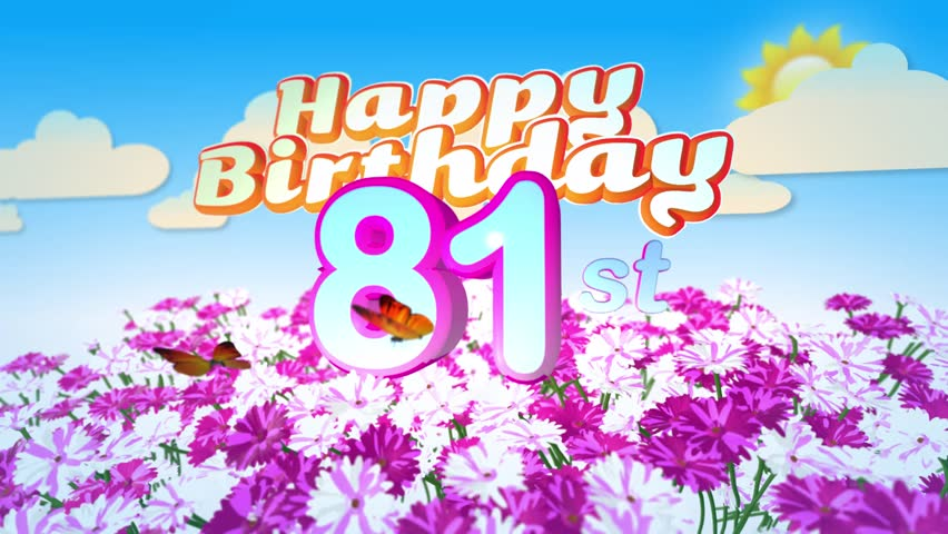 Animated happy 9th birthday card with a field of flowers while two happy 81st birthday card with a field of flowers while two little butterflys circulating around the bookmarktalkfo Images
