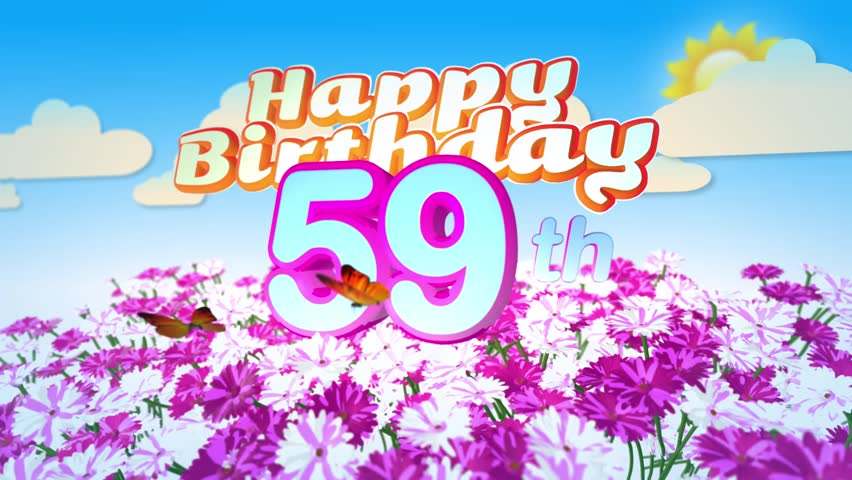 Happy 59th Birthday Card With A Field Of Flowers While Two Little Butterflys Circulating Around The Logo Twenty Seconds Seamless Looping Animation