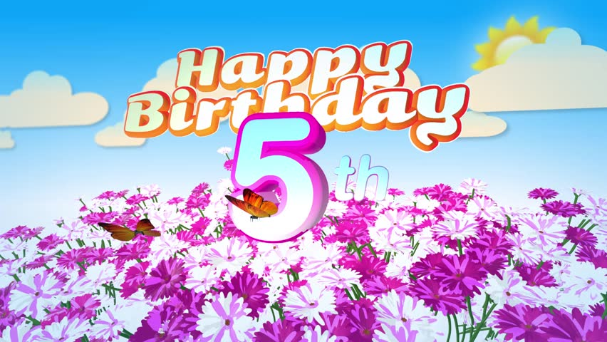 Animated Happy 5th Birthday Card Stock Footage Video 100 Royalty Free 17942422 Shutterstock