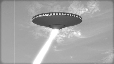 UFO fires death rays (Vintage Black and White Animation)