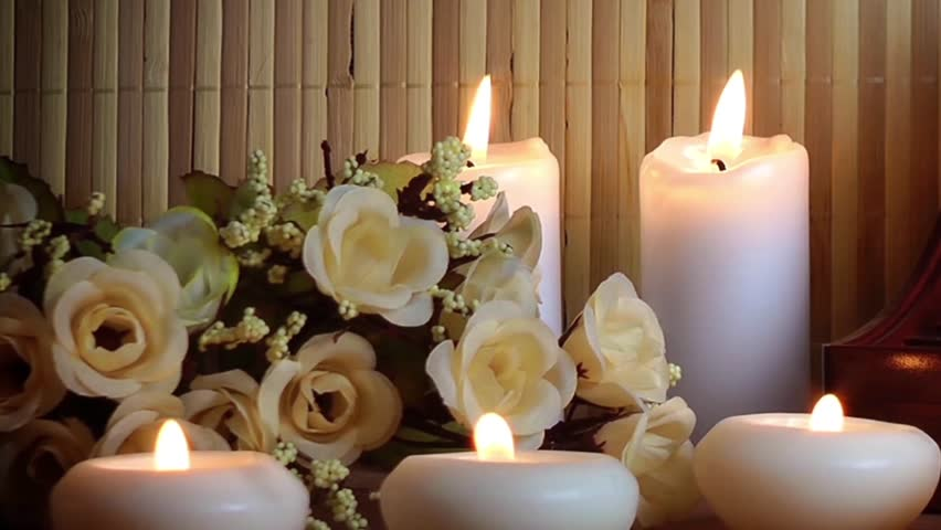 Romantic Valentines Day Candles And Flowers Romance -2090