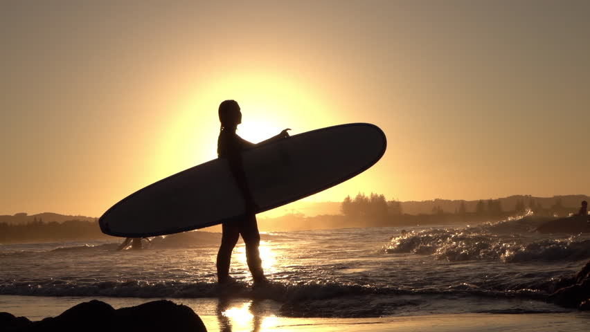 Video Stock A Tema Slow Motion Silhouette Young Surfer 100