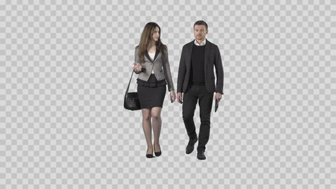 Young man and attractive woman in business clothes are walking at the camera. The camera is static. Lens 85 mm. Footage with alpha channel. File format - .mov, codec PNG+Alpha