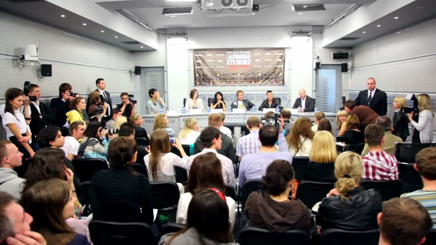 MOSCOW - MAY 6: Journalists at popular dutch DJ Armin Van Buuren press conferences in RIA Novosti hall, on May 6, 2011 in Moscow, Russia.