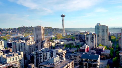 Aerial view of Seattle space needle