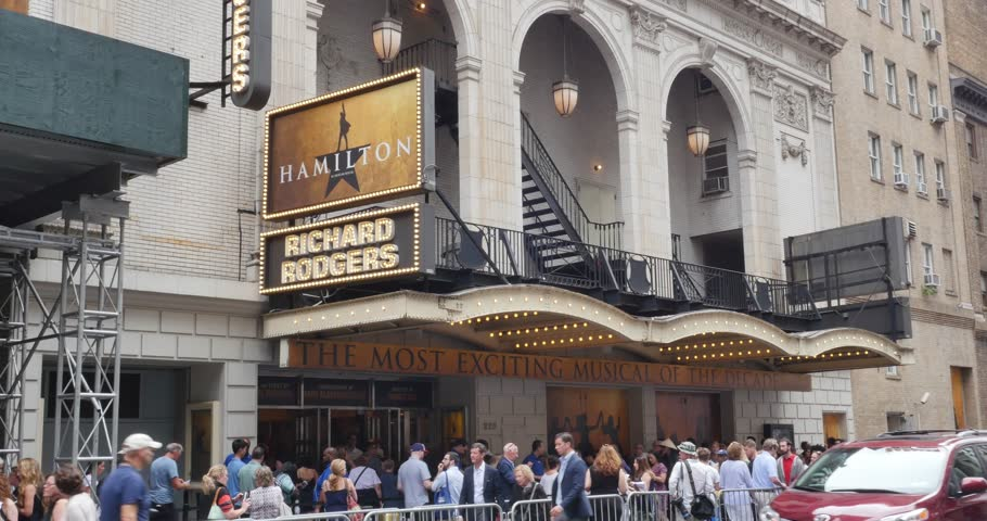 NEW YORK - Circa July 9, 2016 - People wait in line for tickets to the final performance of Hamilton starring Lin-Manuel Miranda.
