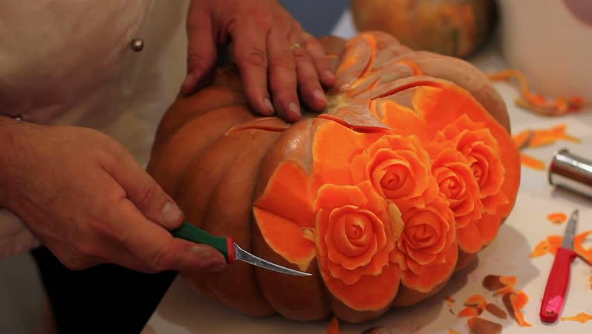 Kitchen artist creates roses with pumpkin | Shutterstock HD Video #1807622