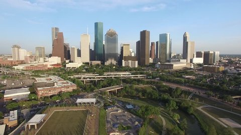 Drone shot of Downtown Houston
