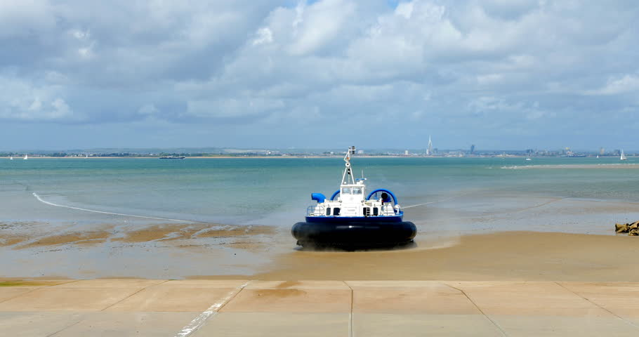 Hovercraft boat arriving on the beach in Ryde, Isle of Wight