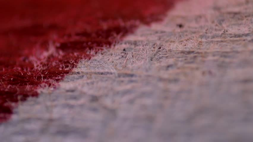 the blood on the bandages