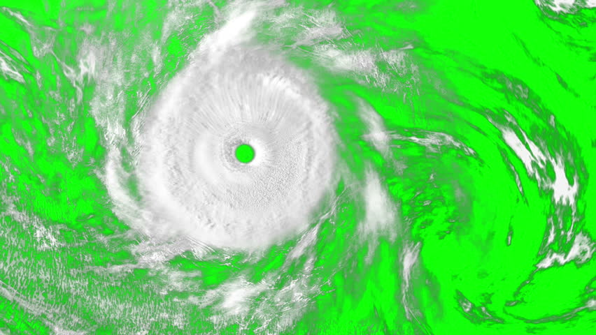 Large Hurricane on the green screen, CG animation