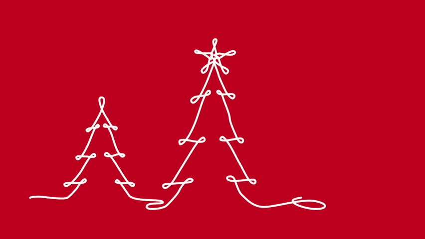 Christmas Tree Continuous Line Drawings Stock Footage Video 100