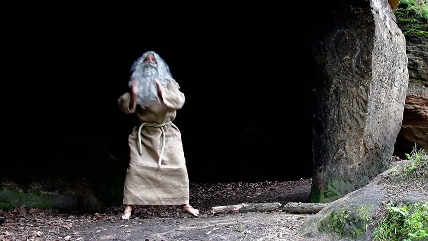 bearded hermit dancing in a cave