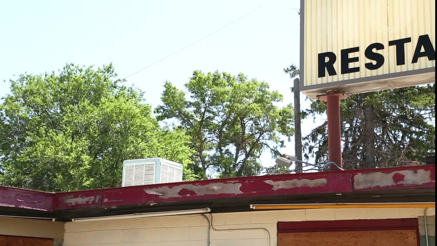 Old Restaurant and Cafe Sign with Ad For Color TV Pan Left to Right