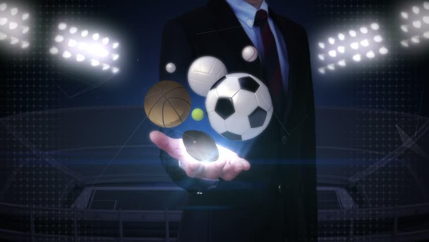 Businesswoman open palm, various sports ball, baseball, soccer ball, basketball, volleyball, tennis ball, rugby ball. #18168274