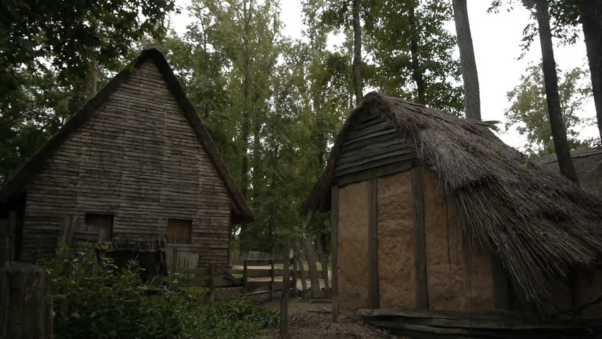 VIRGINIA - 2014. Re-enactment recreation of 1600-1700s, Colonial Village, homestead in wilderness. 17th century house, barn and fort. Jamestown, Plymouth, Bermuda. New World, Pocahontas, John Smith