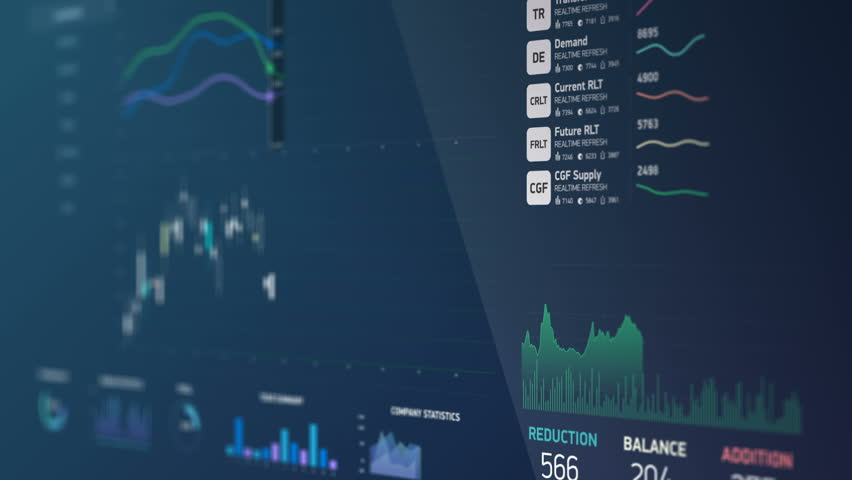 Financial data on screen, figures changing, graphs, curves falling and rising. Electronic chart with stock market fluctuations, summary, annual reports, analysis