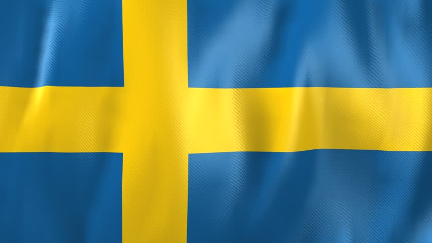 3D Animation of national flag  of Sweden, waving in the wind with realistic fabric structure (seamless loopable)  | Shutterstock HD Video #1821482