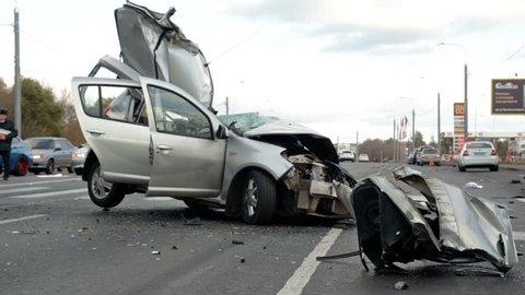 medium shot deadly car crash