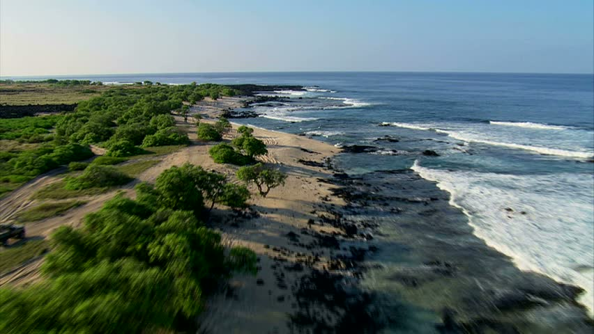 Low pass aerial of the Kona coastline, Hawaii