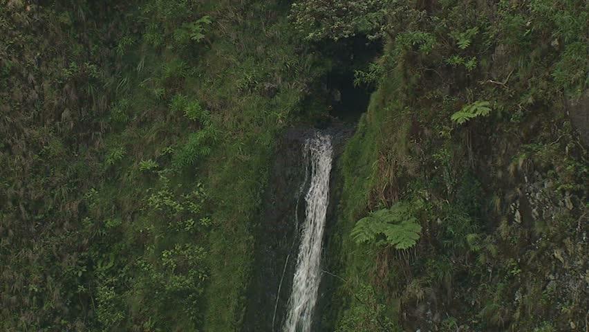 Aerial view of waterfall on the Hamakua Coast, Pololu, Hawaii