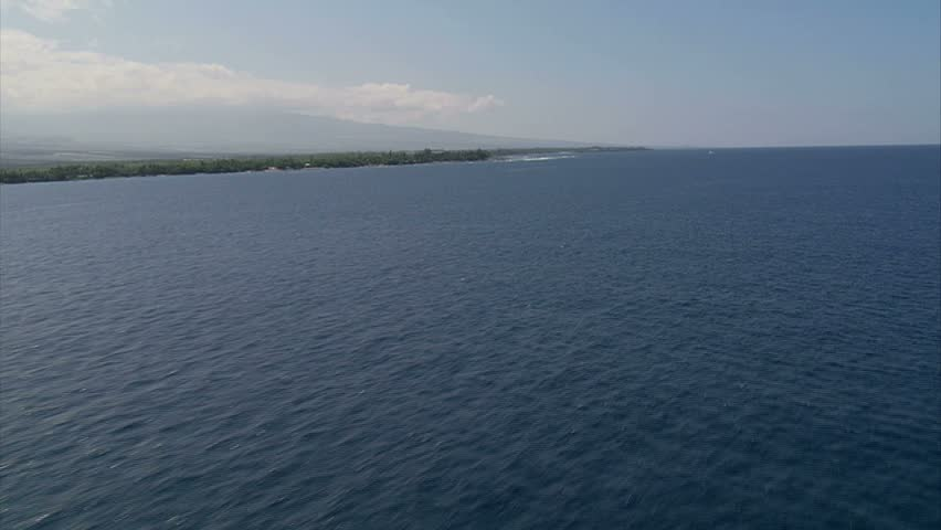 Aerial view of the Kona Coast and Pacific Ocean