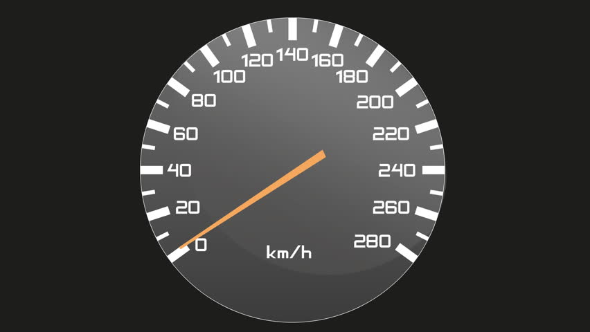 Video of isolated speedometer - tachometer - first accelerating to 270 km/ h, then it stays on this top speed and then it slow down to zero - to full stop