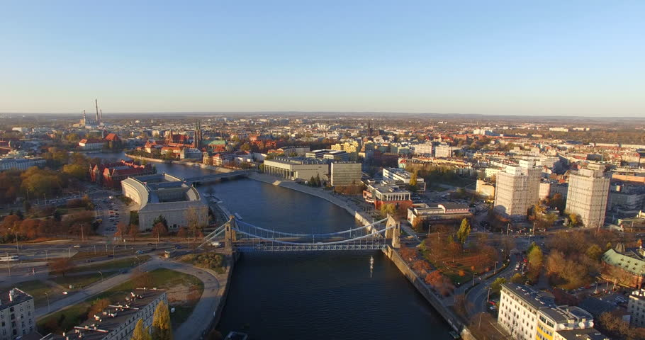 Aerial: Grunwald bridge in Wroclaw during spring on a beautiful sunny day, Poland | Shutterstock HD Video #18279352
