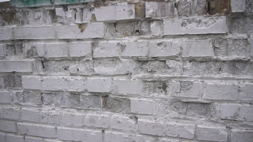 Panorama Of Old White Chipped Brick Wall