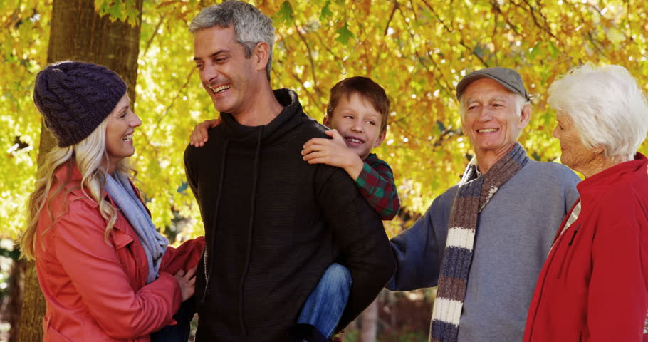 Boy on a dad back with family standing next outdoors | Shutterstock HD Video #18296332