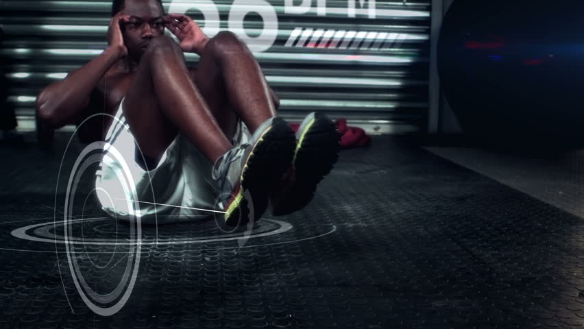 Slow motion of athlete performing crunches against the animated background
