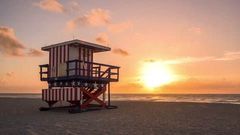 Miami Beach, Florida, USA at dawn.