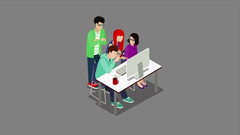 Brainstorming creative team animated discussion people flat 3d isometric cartoon concept 4K video with alpha. Teamwork staff around table chief art director designer programmer.